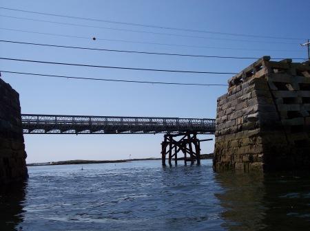 Temperary bridge behind the Cribstone