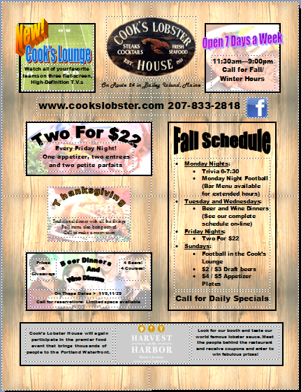 Cook's Lobster House Fall Schedule of Events