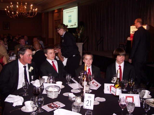 Curt Parent and his boys at the Maine Restaurant Association awards banquet