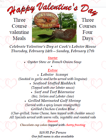 Maine Valentine's Day Menu